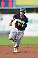 Vermont Lake Monsters second baseman Joe Bennie (3) running the bases during a game against the Jamestown Jammers on July 12, 2014 at Russell Diethrick Park in Jamestown, New York.  Jamestown defeated Vermont 3-2.  (Mike Janes/Four Seam Images)
