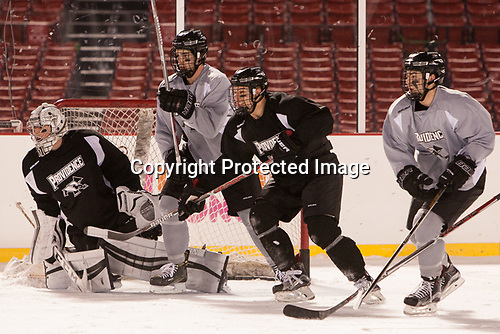 Hayden Hawkey (PC - 31) Kyle McKenzie (PC - 5), -, Spencer Young (PC - 21) - The Providence College Friars practiced at Fenway on Friday, January 6, 2017, in Boston, Massachusetts.