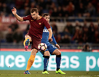 Calcio, Serie A: Roma, stadio Olimpico, 19 marzo, 2017<br /> Roma's Edin Dzeko scores during the Italian Serie A football match between Roma and Sassuolo at Rome's Olympic stadium, March 19, 2017<br /> UPDATE IMAGES PRESS/Isabella Bonotto