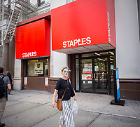 A Staples office supply store in Union Square in New York on Tuesday, June 27, 2017. Private equity firm Sycamore Partners is reported to be in talks to purchase the office supply retailer in a deal which could be over $6 billion. (© Richard B. Levine)