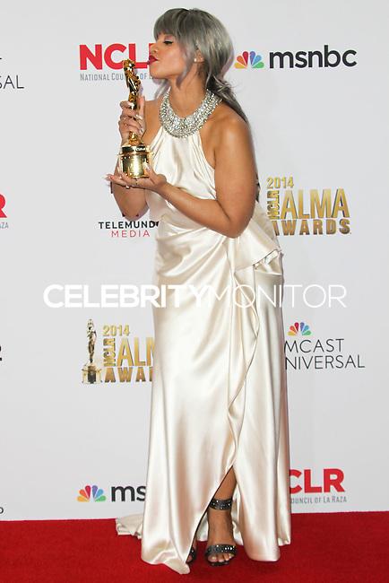 PASADENA, CA, USA - OCTOBER 10: Dascha Polanco poses in the press room at the 2014 NCLR ALMA Awards held at the Pasadena Civic Auditorium on October 10, 2014 in Pasadena, California, United States. (Photo by Celebrity Monitor)