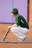 Justin Seager (10 of the Charlotte 49ers waits in the on deck circle for his turn to hit against the High Point Panthers at Willard Stadium on February 20, 2013 in High Point, North Carolina.  The 49ers defeated the Panthers 12-3.  (Brian Westerholt/Four Seam Images)