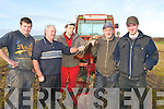 LINING: Lining up his plough on Sunday on Diarmuid Lawlor's Land, Ballymacquinn, at the Ballyheigue Ploughing competition. L-r:Derek and Michael O'DRiscol,Patrick and Thomas Boyle and Pa Lucid (Causeway). ...