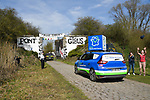 The publicity caravan ahead of the race on one of the cobbled sectors before the 116th edition of Paris-Roubaix 2018. 8th April 2018.<br /> Picture: ASO/Bruno Bade | Cyclefile<br /> <br /> <br /> All photos usage must carry mandatory copyright credit (&copy; Cyclefile | ASO/Bruno Bade)