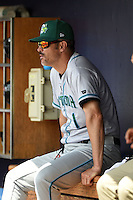 Daytona Tortugas manager Eli Marrero (1) in the dugout during a game against the Charlotte Stone Crabs on April 14, 2015 at Charlotte Sports Park in Port Charlotte, Florida.  Charlotte defeated Daytona 2-0.  (Mike Janes/Four Seam Images)