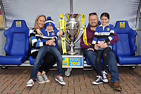 Bath Rugby fans pose with the Premiership Rugby trophy. The Clash, Aviva Premiership match, between Bath Rugby and Leicester Tigers on April 7, 2018 at Twickenham Stadium in London, England. Photo by: Rob Munro for Onside Images