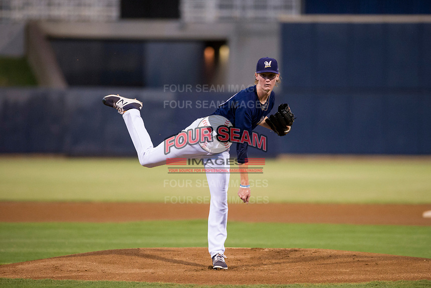 AZL Brewers Caden Lemons (18) follows through on his delivery against the AZL Cubs at Maryvale Baseball Park in Phoenix, Arizona. AZL Cubs defeated the AZL Brewers 9-1. (Zachary Lucy/Four Seam Images)