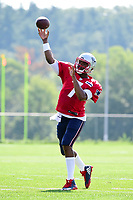 August 1, 2017: New England Patriots quarterback Jacoby Brissett (7) throws a pass at the New England Patriots training camp held at Gillette Stadium, in Foxborough, Massachusetts. Eric Canha/CSM