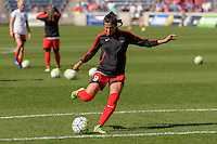 Bridgeview, IL - Sunday June 12, 2016: Nadia Nadim during a regular season National Women's Soccer League (NWSL) match between the Chicago Red Stars and the Portland Thorns at FC Toyota Park.