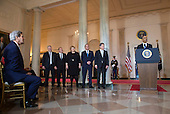 President Barack Obama (R) speaks alongside nordic leaders, from left to right, Iceland Prime Minister Sigurdur Ingi Johannsson, Denmark Prime Minister Lars Lokke Rasmussen, Norway Prime Minister Erna Solberg, Sweden Prime Minister Stefan Lofven and Finland President Sauli Niinisto to the White House during a welcomes ceremony in the Grand Foyer of the White House in Washington, D.C. May 13, 2016. U.S. Secretary of State John Kerry is seen to the left.<br /> Credit: Kevin Dietsch / Pool via CNP