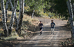 10K runners, Joseph Overson, left, and Mark Porter compete in the 8th annual Take it to the Lake race at Cave Lake State Park, near Ely, Nev., on Saturday, Sept. 21, 2019.<br /> Photo by Cathleen Allison/Nevada Momentum