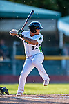 29 August 2019: Vermont Lake Monsters infielder Jordan Diaz at bat in the first inning against the Connecticut Tigers at Centennial Field in Burlington, Vermont. The Lake Monsters fell to the Tigers 6-2 in the first game of their NY Penn League double-header.  Mandatory Credit: Ed Wolfstein Photo *** RAW (NEF) Image File Available ***