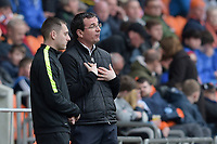 Blackpool manager Gary Bowyer speaks with the fourth official Simon Mather<br /> <br /> Photographer Terry Donnelly/CameraSport<br /> <br /> The EFL Sky Bet League Two - Blackpool v Accrington Stanley - Friday 14th April 2017 - Bloomfield Road - Blackpool<br /> <br /> World Copyright &copy; 2017 CameraSport. All rights reserved. 43 Linden Ave. Countesthorpe. Leicester. England. LE8 5PG - Tel: +44 (0) 116 277 4147 - admin@camerasport.com - www.camerasport.com