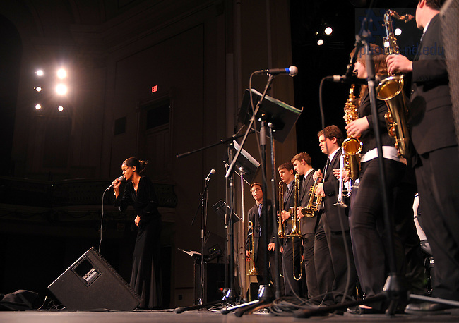 2009 Notre Dame Jazz Festival.  Katie Washington sings a vocal solo as the Notre Dame New Orleans Brass Band plays...Photo by Matt Cashore/University of Notre Dame