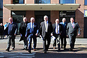 Hooded men Jim Auld, Patrick McNally, Liam Shannon, Francis McGuigan, Davy Rodgers, Brian Turley and Joe Clarke leave a Amnesesty International press conference in Belfast, Northern Ireland, Tuesday 20th of March 2018. The European Court of Human Rights (ECHR) has rejected a request to find that men detained during internment in Northern Ireland suffered torture. The so-called hooded men claimed they were subjected to torture by the British army in 1971. Lawyers for the men have called on the Irish government to appeal. In 1978, the European Court of Human Rights held that the UK had carried out inhuman and degrading treatment. Photo/Paul McErlane