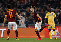 Calcio, Serie A: Roma vs Frosinone. Roma, stadio Olimpico, 30 gennaio 2016.<br /> Roma's Stephan El Shaarawy, center, celebrates after scoring during the Italian Serie A football match between Roma and Frosinone at Rome's Olympic stadium, 30 January 2016.<br /> UPDATE IMAGES PRESS/Isabella Bonotto