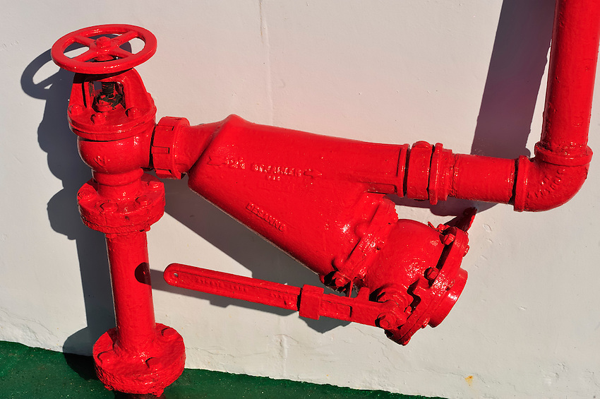 Red Angles - Fire hydrant on the foredeck of the MV Ushuaia.