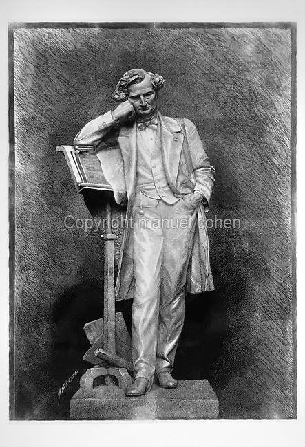 Portrait of Hector Berlioz, 1803-69, French Romantic composer, leaning on his music stand, late 19th century drawing for a planned statue.<br /> Copyright &copy; Collection Particuliere Tropmi / Manuel Cohen