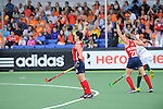 The Hague, Netherlands, June 10: Caroline Nichols #19 of USA and Katelyn Falgowski #23 of USA celebrate after scoring during the field hockey group match (Women - Group B) between USA and South Africa on June 10, 2014 during the World Cup 2014 at GreenFields Stadium in The Hague, Netherlands. Final score 4-2 (1-0) (Photo by Dirk Markgraf / www.265-images.com) *** Local caption ***