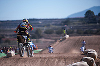 Riders jumping at Spanish Motocross Championship at Albaida circuit (Spain), 22-23 February 2014