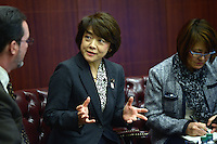 Washington, DC - December 3, 2015: The Honorable Aiko Shimajiri (c), Minister of State for Okinawa and Northern Territory Affairs, participates in the 'U.S.-Japan Soft Power Alliance' forum at the Center for Strategic and International Studies in the District of Columbia.  December 3, 2015  (Photo by Don Baxter/Media Images International)