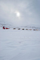 Paul Gebhardt in Ptarmigan valley in the Alaska Range on his way to Rohn during Iditarod 2009