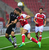Lincoln City's Michael Bostwick vies for possession with Rotherham United&rsquo;s Joe Mattock<br /> <br /> Photographer Andrew Vaughan/CameraSport<br /> <br /> The Carabao Cup First Round - Rotherham United v Lincoln City - Tuesday 8th August 2017 - New York Stadium - Rotherham<br />  <br /> World Copyright &copy; 2017 CameraSport. All rights reserved. 43 Linden Ave. Countesthorpe. Leicester. England. LE8 5PG - Tel: +44 (0) 116 277 4147 - admin@camerasport.com - www.camerasport.com