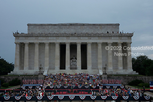 United States President Donald J. Trump delivers remarks at his Salute to America event in Washington D.C. on July 4, 2019.  The event included a flyover of Air Force One, the Blue Angels, and military aircraft representing each branch of the military.<br /> <br /> Credit: Stefani Reynolds / CNP