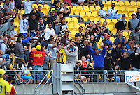 A fan catches a six during the One Day International cricket match between the NZ Black Caps and Pakistan at Westpac Stadium, Wellington, New Zealand on Saturday, 6 February 2016. Photo: Dave Lintott / lintottphoto.co.nz