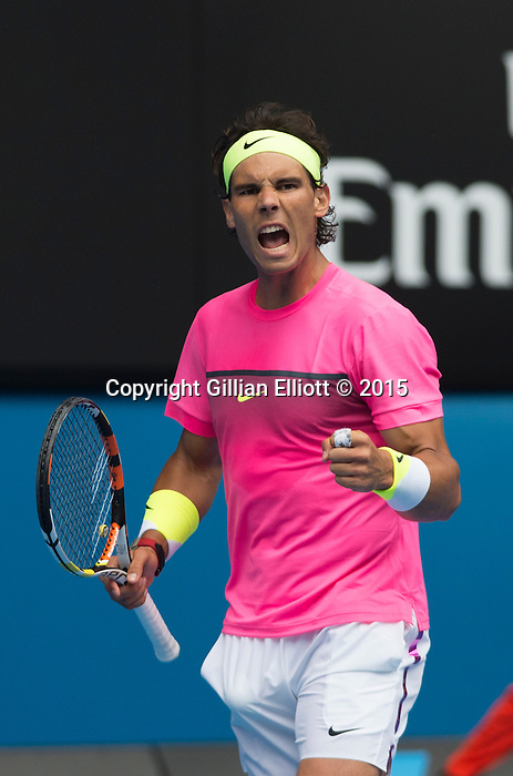 Rafael Nadal (ESP) loses to Tomas Berdych (CZE) 6-2, 6-0, 7-6 at the Australian Open being played at Melbourne Park in Melbourne, Australia on January 27, 2015