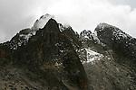 Vu du Nelion et Batian depuis le col d Hausberg. 4600 m. Kenya