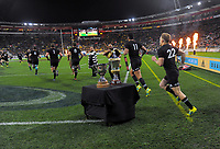 The All Blacks run out for the Steinlager Series international rugby match between the New Zealand All Blacks and France at Westpac Stadium in Wellington, New Zealand on Saturday, 16 June 2018. Photo: Dave Lintott / lintottphoto.co.nz