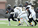 SIOUX FALLS, SD - NOVEMBER 10: Darrion Conrad #11 from the University of South Falls tries to get the edge against Wayne State during their game Saturday afternoon at Bob Young Field in Sioux Falls. (Photo by Dave Eggen/Inertia)