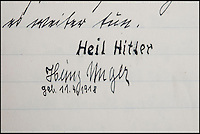 BNPS.co.uk (01202 558833)<br /> Pic: Mullocks/BNPS<br /> <br /> ***Please Use Full Byline***<br /> <br /> Helmut Nieboy - signed off Heil Hitler.<br /> <br /> Sinister archive illustrating the Nazi brainwashing of German youth comes to light...<br /> <br /> A chilling archive of an enthusiastic member of the Hitler Youth has emerged to highlight how the Nazi's brainwashed German children in the build up to WW2<br /> <br /> Helmut Nieboy kept detailed diaries during his time with the German equivalent of the Boy Scouts from 1933.<br /> <br /> Helmut also amassed a number of photographs of his time with the paramilitary group, showing the youngsters sitting around a campfire, marching and at rallies. <br /> <br /> The diaries also include incredibly detailed route marches as well as hand drawn portraits of the beloved Fuhrer with patriotic slogans.<br /> <br /> The archive, that also includes his Hitler Youth tent, knife and trumpet, are being sold by Mullock's Auctioneers of Shropshire.