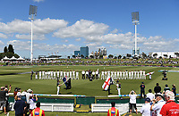 21st November 2019; Mt Maunganui, New Zealand;  View as the teams line up for the national anthems. international test match cricket, Day 1, New Zealand versus England at Bay Oval, Mt Maunganui, New Zealand.
