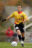 Craig Capano of the Fire. The MetroStars defeated the Chicago Fire 2-0 during the inaugural Hall of Fame game on Monday October 11, 2004 at At-A-Glance Field at the National Soccer Hall of Fame and Museum, Oneonta, NY..