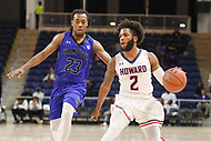 Washington, DC - December 22, 2018: Howard Bison guard RJ Cole (2) is being guarded by Hampton Pirates guard Kalin Fisher (23) during the DC Hoops Fest between Hampton and Howard at  Entertainment and Sports Arena in Washington, DC.   (Photo by Elliott Brown/Media Images International)