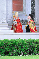 Pope Benedict XVI, and the leader of the world's Orthodox Christians, Patriarch Bartholomew I, celebrate a ceremony in memory of St. Paul, at St. Paul's Basilica Outside the Walls, in Rome,June 28, 2008