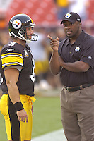 18 August 2007:.Steelers Head Coach Mike Tomlin talks with kicker Jeff Reed.  The Pittsburgh Steelers defeated the Washington Redskins 12-10 in their preseason game at FedEx Field in Landover, MD.