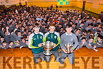 Students Jack Morgan and Michéal Reidy (kerry minor footballers) with the Tommy Markham Cup and Tomás O'Connor (Kerry Minor Hurley) with the Minor Hurling Cup at the School Green CBS,Tralee on Friday were they got a great cheers from fellow students. of the  CBS The Green,Tralee
