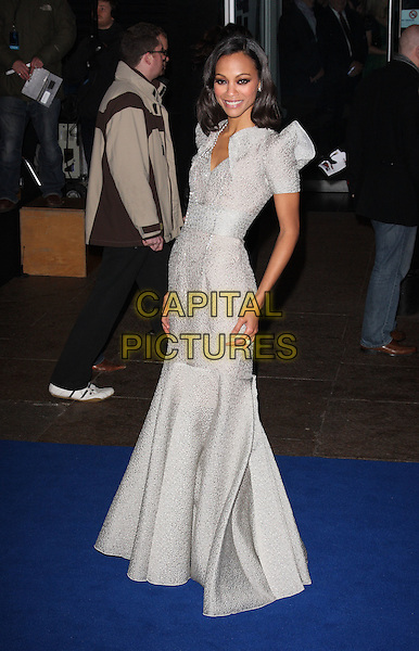 "ZOE SALDANA.Arrivals - World Premiere of ""Avatar"", Odeon Leicester Square, London, England. .December 10th, 2009 .full length grey gray silver dress shoulder pads maxi gown fishtail beads beaded .CAP/ROS.©Steve Ross/Capital Pictures."