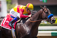 ARCADIA, CA - JULY 01: Danzing Candy #1, ridden by Mike Smith wins the Grade II San Carlos Stakes at Santa Anita Park on July 1, 2017 in Arcadia, California.  (Photo by Zoe Metz/Eclipse Sportswire/Getty Images)