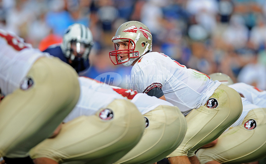 Sept. 19, 2009; Provo, UT, USA; Florida State Seminoles quarterback (7) Christian Ponder prepares to take the snap in the first quarter against the BYU Cougars at LaVell Edwards Stadium. Mandatory Credit: Mark J. Rebilas-