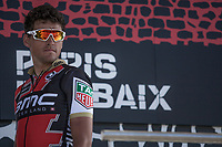 Later Winner Greg Van Avermaet (BEL/BMC) on the start podium in Compi&egrave;gne<br /> <br /> 115th Paris-Roubaix 2017 (1.UWT)<br /> One day race: Compi&egrave;gne &gt; Roubaix (257km)