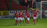 Celebrations as Nathan Delfouneso of Swindon Town scores to make it 2-0 during the The Checkatrade Trophy match between Swindon Town and Chelsea U23 at the County Ground, Swindon, England on 13 September 2016. Photo by Andy Rowland.