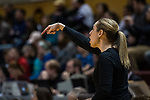 GRAND RAPIDS, MI - MARCH 18: Head coach Carla Berube of Tufts University makes the call to her team during the Division III Women's Basketball Championship held at Van Noord Arena on March 18, 2017 in Grand Rapids, Michigan. Amherst College defeated Tufts University 52-29 for the national title. (Photo by Brady Kenniston/NCAA Photos via Getty Images)