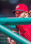 6 April 2014: Washington Nationals outfielder Bryce Harper watches play from the dugout during a game against the Atlanta Braves at Nationals Park in Washington, DC. The Nationals defeated the Braves 2-1 to salvage the last game of their 3-game series. Mandatory Credit: Ed Wolfstein Photo *** RAW (NEF) Image File Available ***