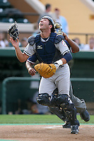April 11, 2009:  Catcher Austin Romine (12) of the Tampa Yankees, Florida State League Single-A affiliate of the New York Yankees, during a game at Joker Marchant Stadium in Lakeland, FL.  Photo by:  Mike Janes/Four Seam Images