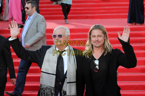 Nikita Mikhalkov, Brad Pitt<br /> The opening of the Moscow International Film Festival, Moscow, Russia.<br /> June 20th, 2013<br /> half length black top suit jacket goatee facial hair moustache mustache sunglasses shades grey gray scarf hand arm waving <br /> CAP/PER/LS<br /> &copy;LS/PersonaStars/CapitalPictures