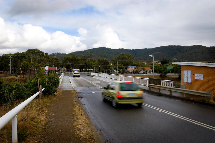 In 2009, work began on the bridge over the Dennison Canal, at Dunalley, Tasmania,  to create an automatic gate that limits the movement of Tasmanian Devils, in order to stop the spread of Devil Facial Tumour Disease.<br />  This is the only crossing point of the Denison Canal, effectively cutting the Tasman Peninsula off from the rest of Tasmania. This allows careful isolation of key Tasmanian Devil populations, in order to weed out Devil Facial Tumor Disease, which is a contagious cancer that is threatening the animal.<br /> <br /> Note: This image was taken in February 2008.
